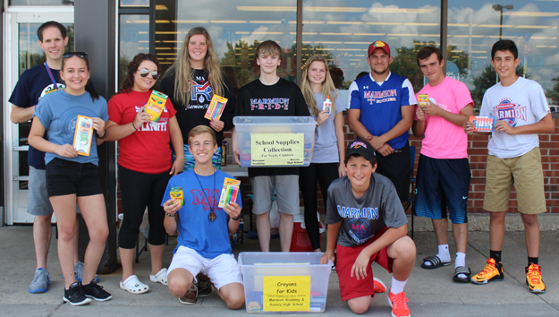 Rosary/Marmion Students Help Collect School Supplies