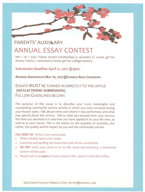 Rosary High School  Scholarship Essay Contest Parents Auxiliary Service Essay Contest
